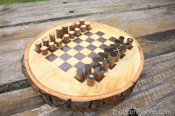 Chess Board On A Log Slice With Simple Log Playing Pieces, Rustic Chess  Board Chess
