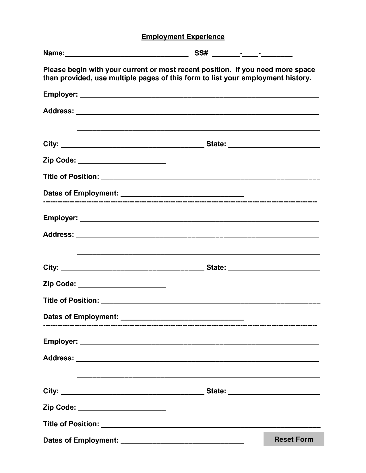 Work Experience Form