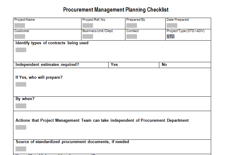 Procurement Management Planning Checklist Download For Sample
