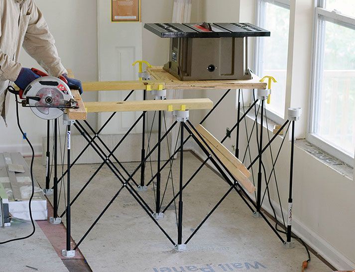 A heavy duty portable workbench or table base, the ...