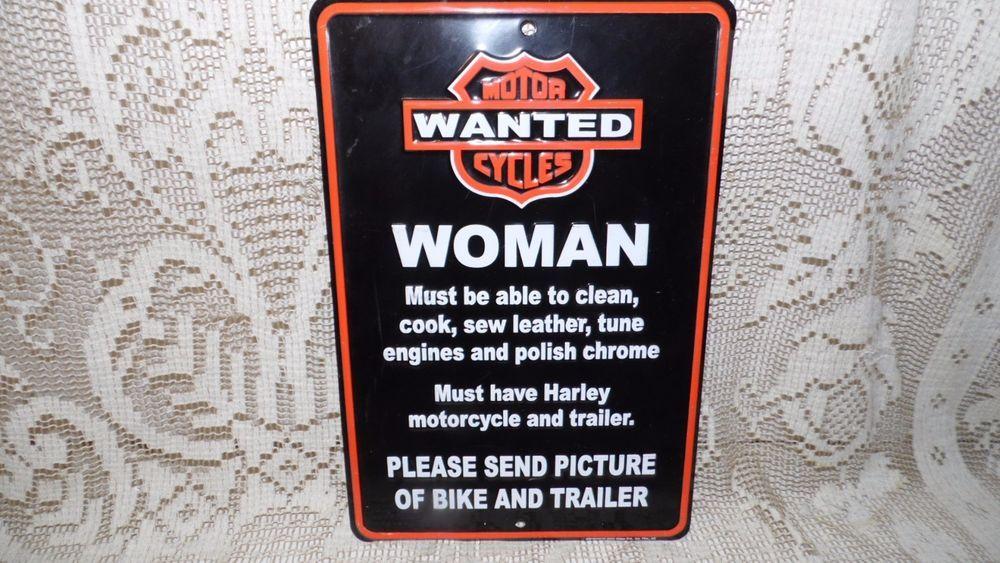 BIKER MOTORCYCLE METAL TIN SIGN FUNNY WANTED WOMAN 2004 GALAN MANCAVE HARLEY #BIKER