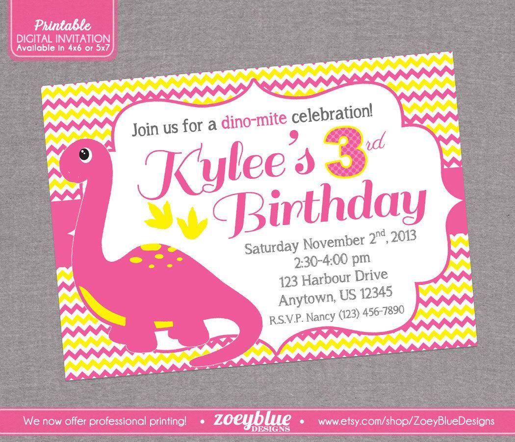 Girl Dinosaur Birthday Party Invitation Pink Yellow Chevron Zig Zag ...