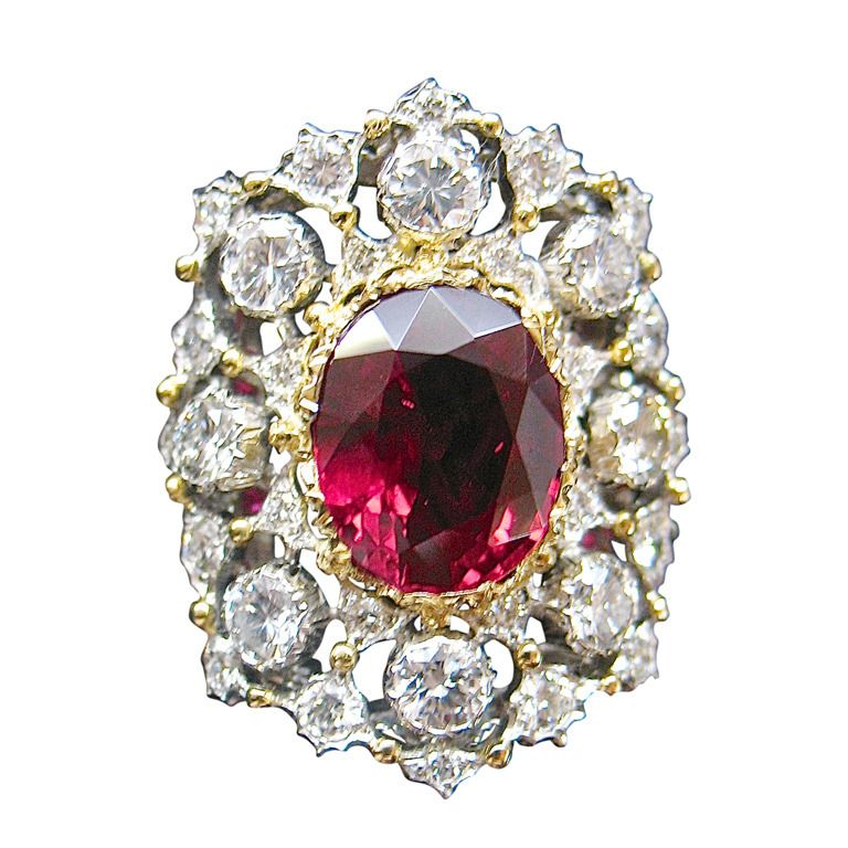 Buccellati Ruby Diamond Two Color Gold Ring Royal And Vintage