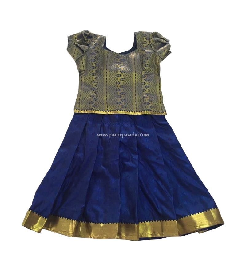 Online Shopping For Pure Soft Silk Pavadai Navy Blue And