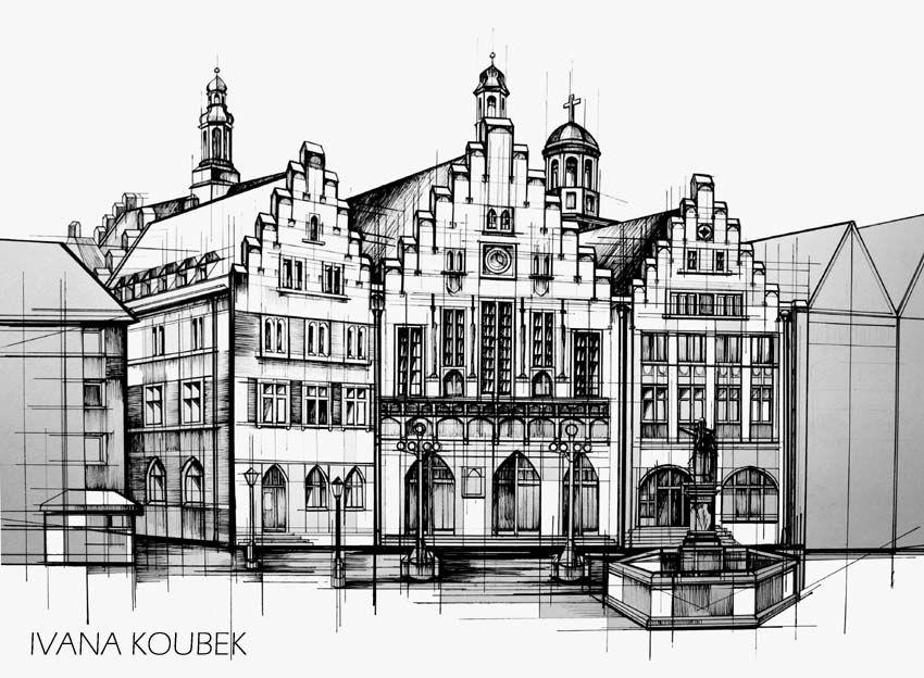 Frankfurt Romer Zeichnung Frankfurt Zeichnungen