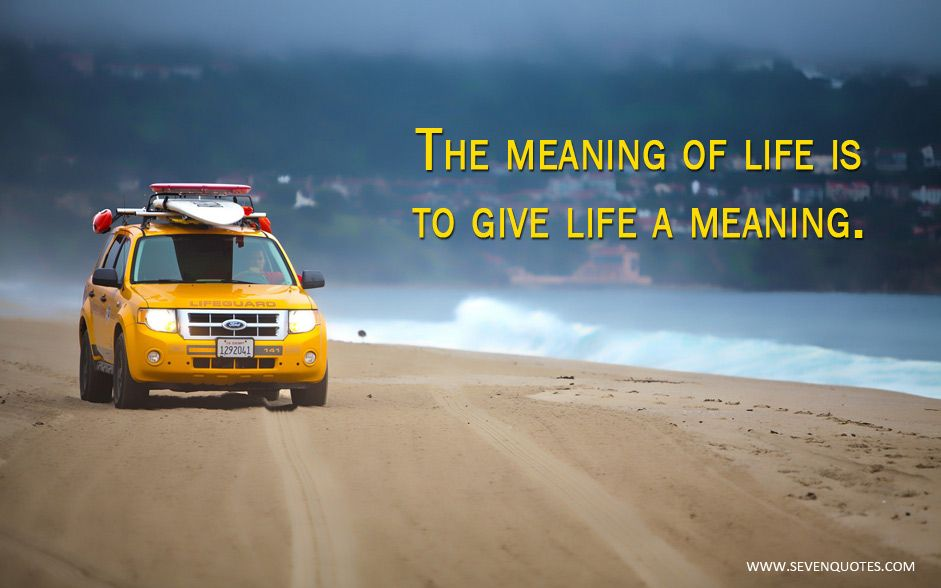 The meaning of life is to give life meaning