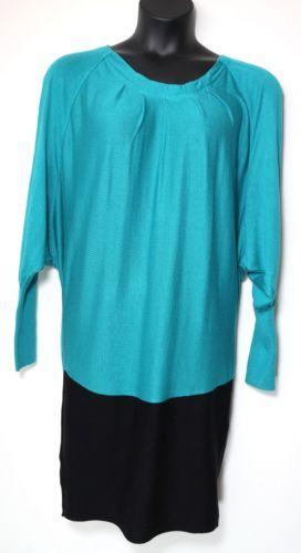 BCBG MAXAZRIA ColorBlocked Open Sleeve Dress, Size L, BlueJade