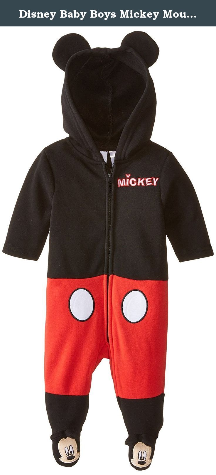f06df790042e Disney Baby Boys Mickey Mouse Coverall with Ears and 3D Embroidery ...
