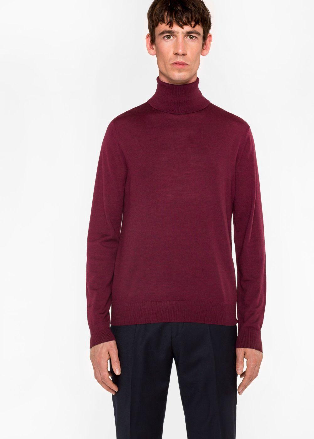 88f74ea066c903 PAUL SMITH Men's Burgundy Merino Wool Roll Neck Sweater. #paulsmith #cloth #