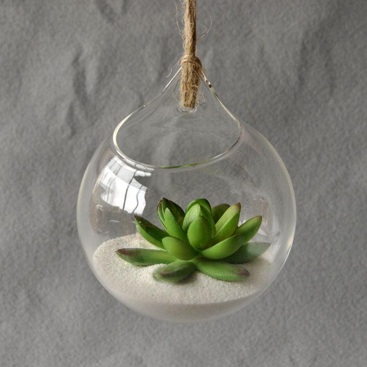 Pendaison vase en verre suspendu terrarium vase en verre hydroponique fleur planteur bureau - Boule verre suspendu ...
