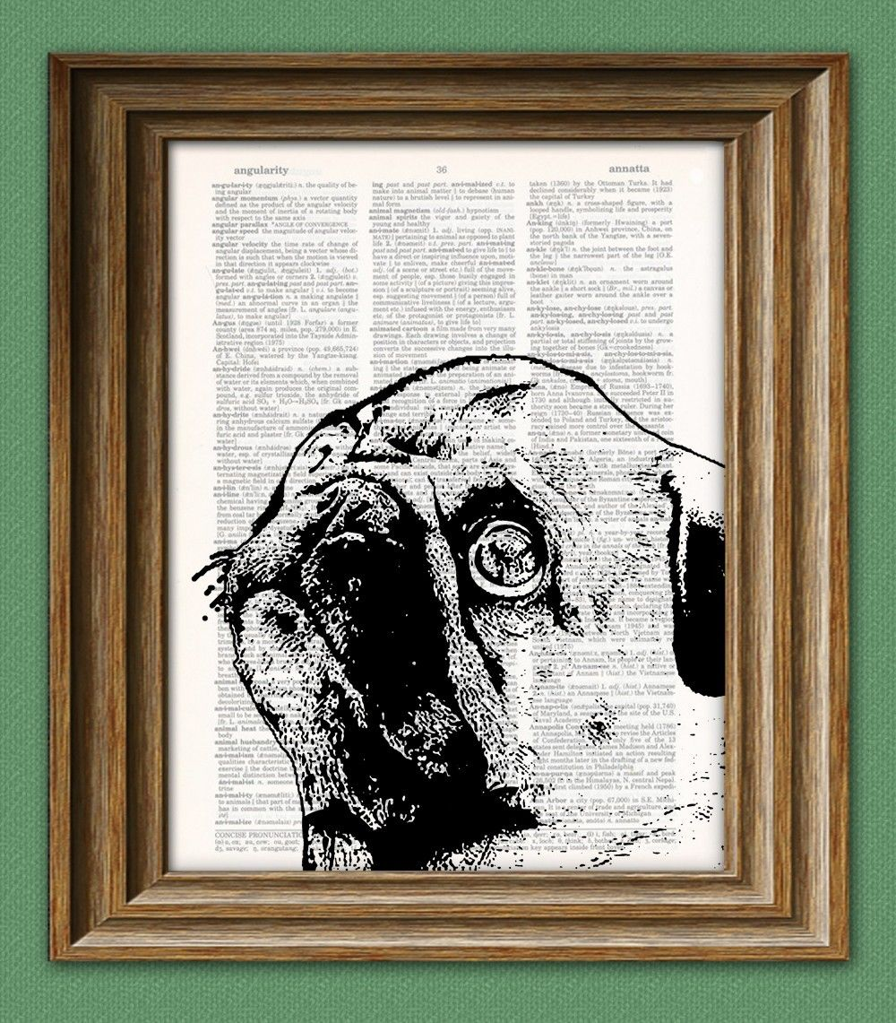 Pug Print Vintage Dictionary Page Wall Art Picture Hipster Geek Animal Dog