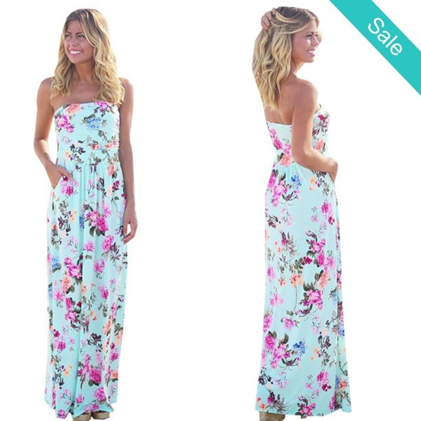 Women's Beautiful Sky Blue Floral Print Tube Maxi Dress with Pockets - SKU: 4763300Style: BohemianSilhouette: A-LineMaterial: Chiffon,PolyesterSeason: SummerNeckline: StraplessDresses Length: Floor-Length Fit: Fit small cut, order up a size  Please allow 2-5 weeks for shipping/processing time.     - On Sale for $28.99 (was $45.99)