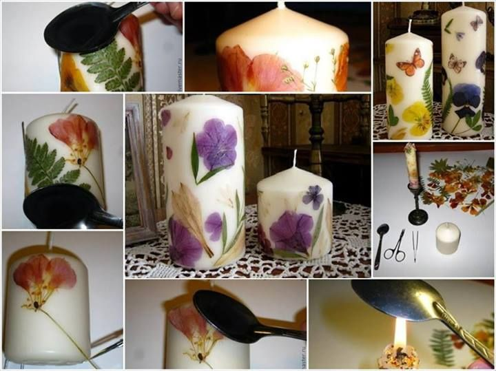 How To Diy Decoupaged Candle With Dried Flower Pressed Flower
