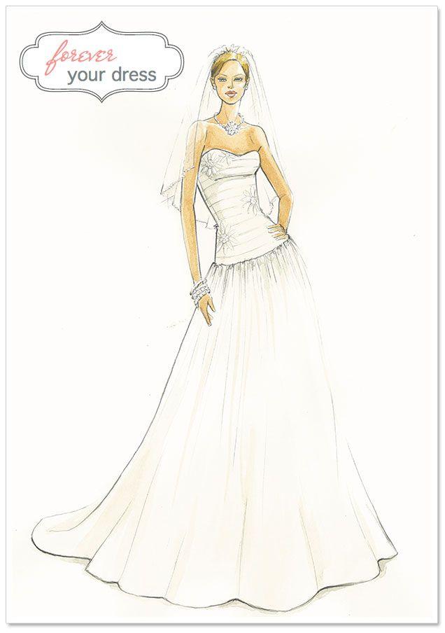 Custom Wedding Dress Illustrations by Forever Your Dress | Wedding ...