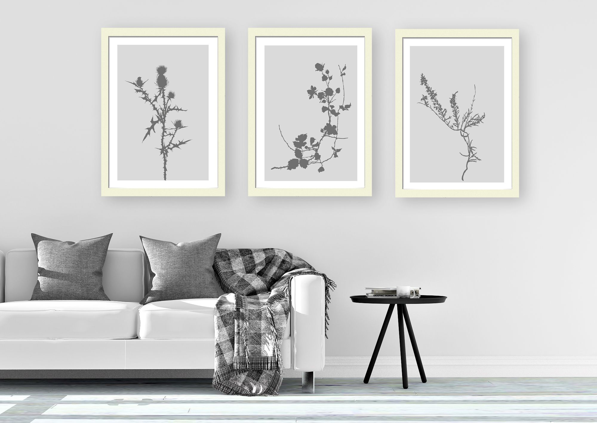 Grey Floral Minimalist Wall Art Floral Print Scandinavian Wall Decor