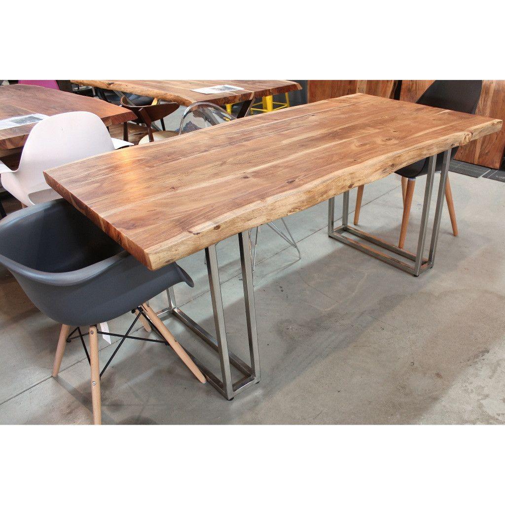 Delightful Live Edge Acacia Natural Wood Table With Double Rectangular Chrome Leg U2013  Wazo Furniture