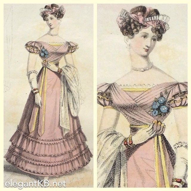 Victorian Fashion Engraving La Belle Pink Evening Dress  from Instagram via @#elegantkb #victorian #fashionillustration