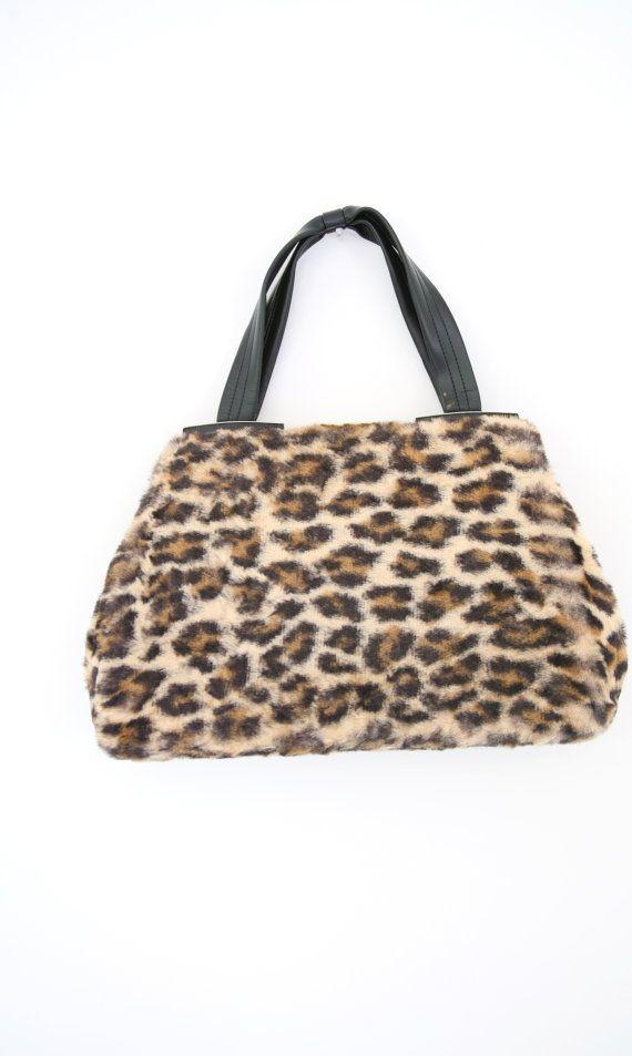 ac8920960e6d Vintage 60s Fuzzy Leopard Handbag Cheetah Print Bag Furry Animal ...
