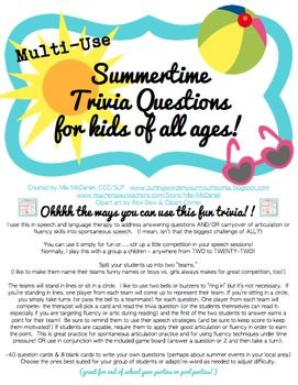 graphic about Printable Summer Trivia Questions and Answers referred to as Summer season Trivia Concerns Online games for little ones of all ages