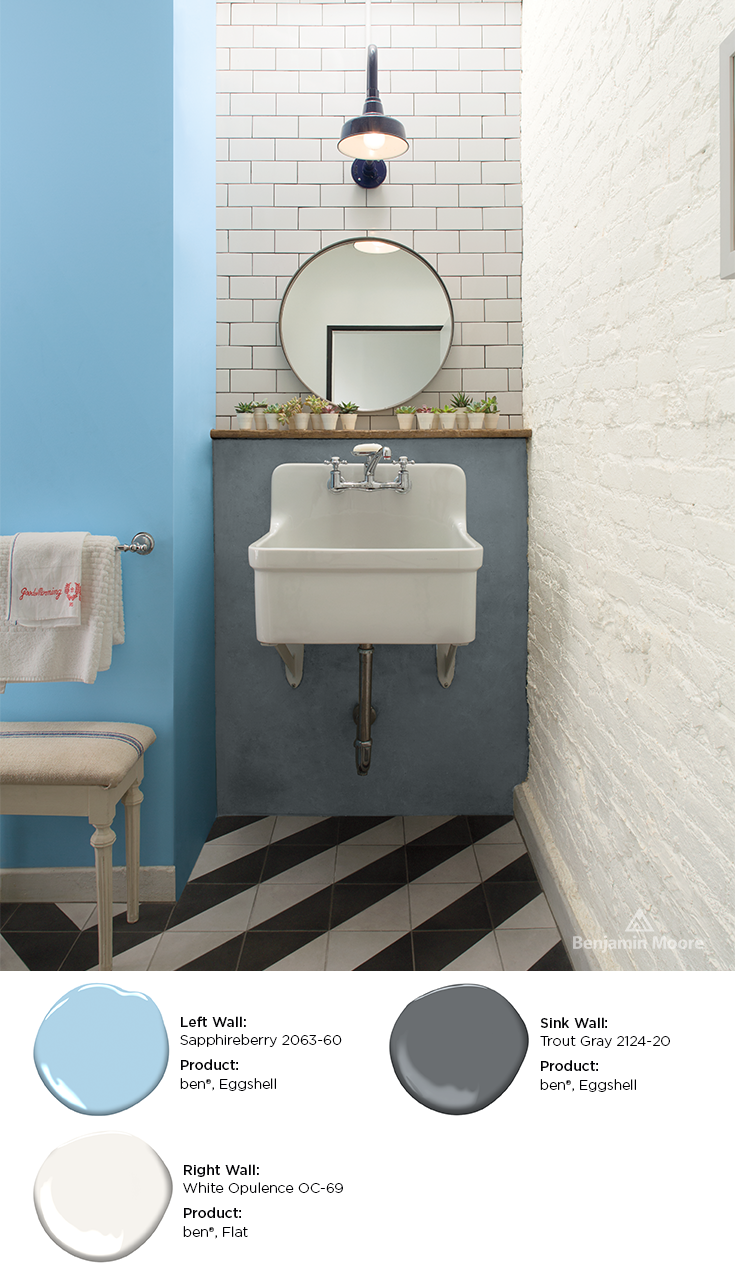 Crisp White Paint Paired With Cool Blues Grays Are Great Bathroom Paint Color Combinations Upd Interior Paint Bathroom Paint Colors Color Combinations Paint