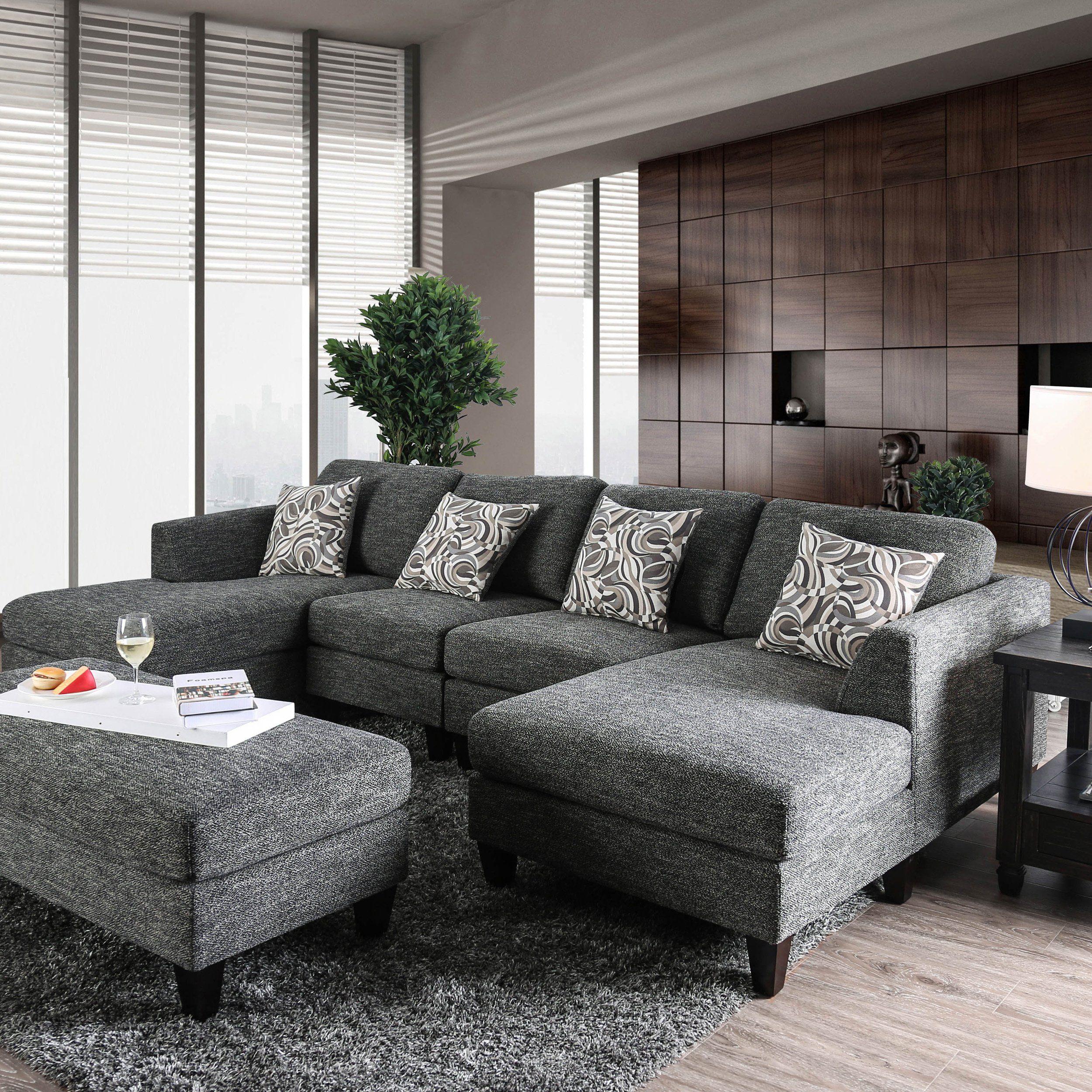 Incredible Breckenridge Grey 4 Piece Chenille Modular Sectional Sofa By Machost Co Dining Chair Design Ideas Machostcouk