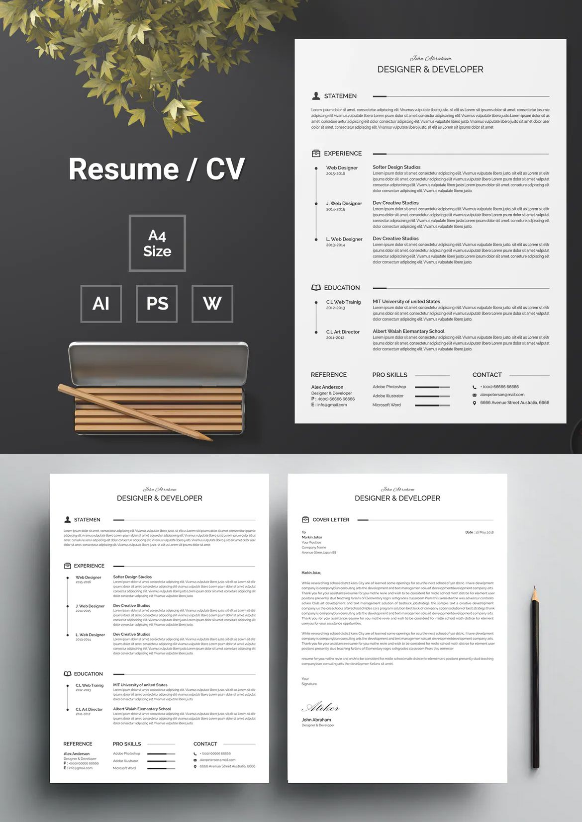 Resume Template 123 by bdthemes on (With images) Resume
