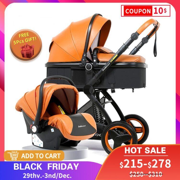 Luxury Baby Stroller 2 in 1 Carriage High Landscape Pram