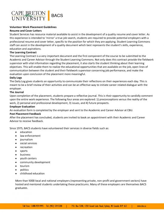 volunteer experience resume example cover letter free blank - volunteer work on resume
