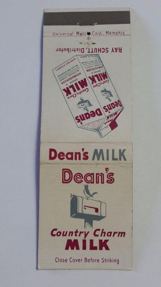 DEAN S COUNTRY CHARM MILK RAY SCHUTT Distributor Matchbook Matchcover