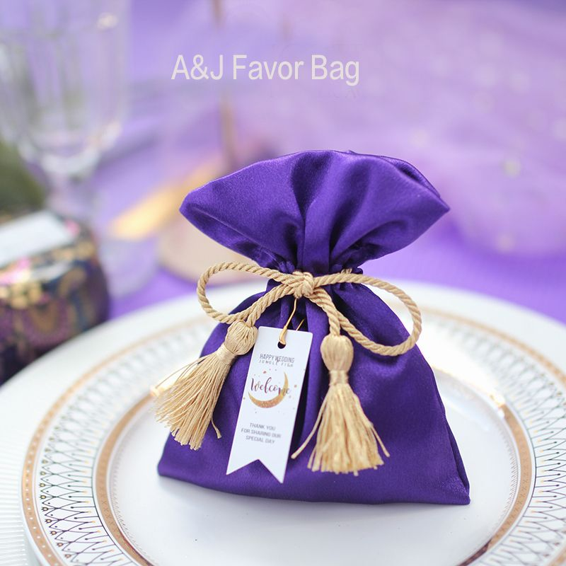 50pcs lot Creative Elegant Purple theme New year Baby shower Party candy  bag chocolate giveaway gift c17bf4dec4