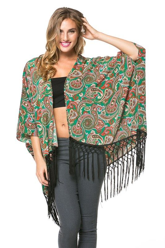 Fringe Paisley Cardigan (100%Polyester) Made In:	USA
