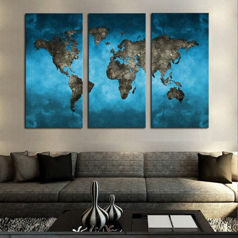 Triptych Teal World Map is part of Modern Home Accents Wall Art - Buy Multi Panel World Map Canvas Wall Art at panelwallart com  Enjoy TAX FREE and FREE SHIPPING  Available in 1 Panel, 3 Panel, 4 Panel and 5 Panel