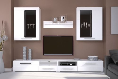 Modern Argus Living Room Furniture Set White Gloss Led Wall Unit Tv Cabinet Living Room Sets Furniture Wall Unit Living Room Entertainment Center