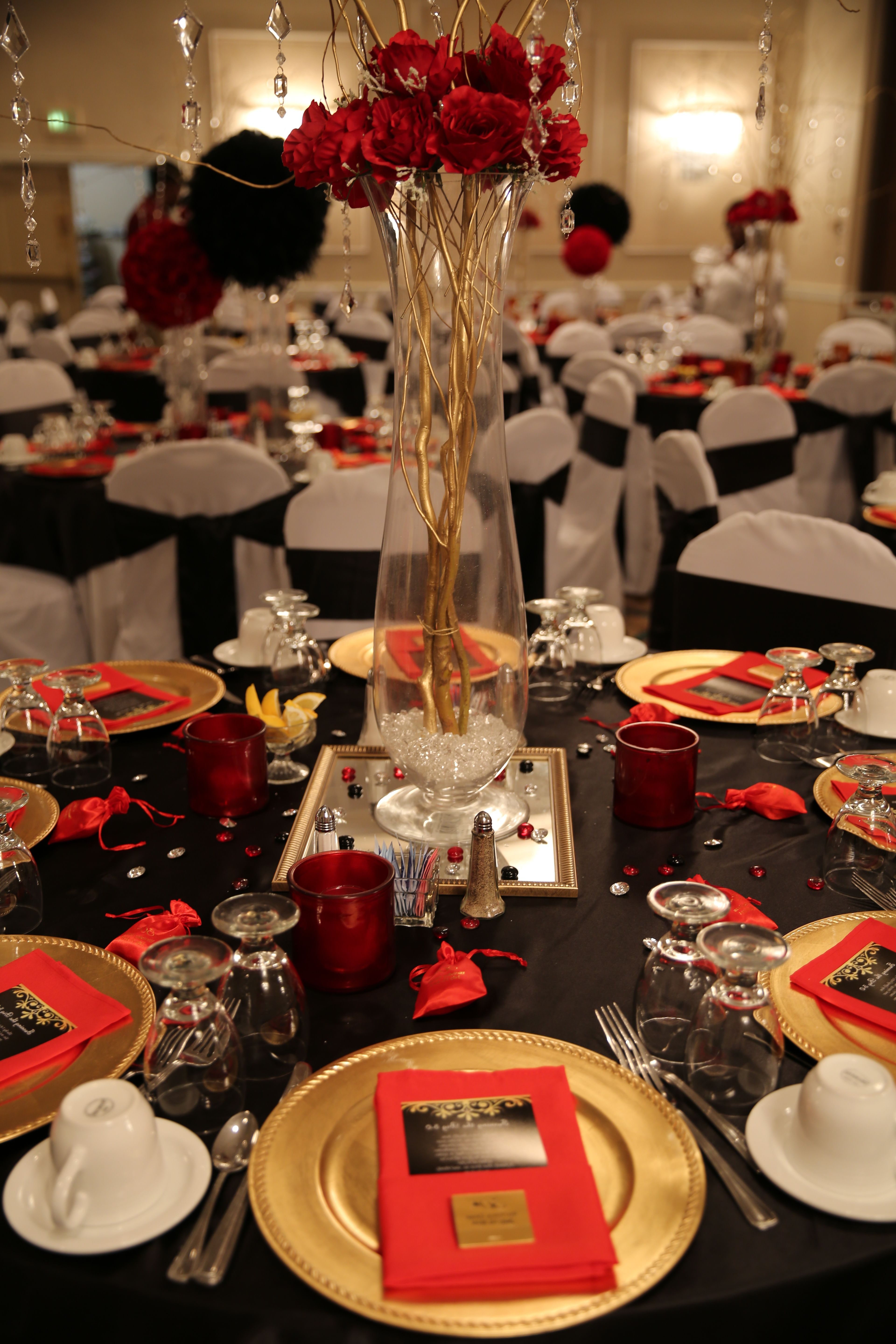 Ideas For Dessert Table Red Silver Black For Female 60th Black Red And Gold Candy Table Cand Red Party