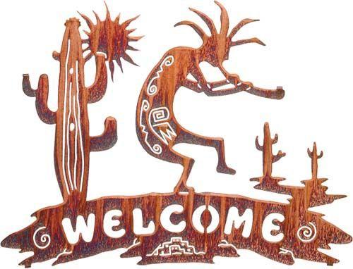 Kokopelli Sun Cactus Welcome Kokopelli Art Steel Wall Art Rustic Outdoor Wall Decor