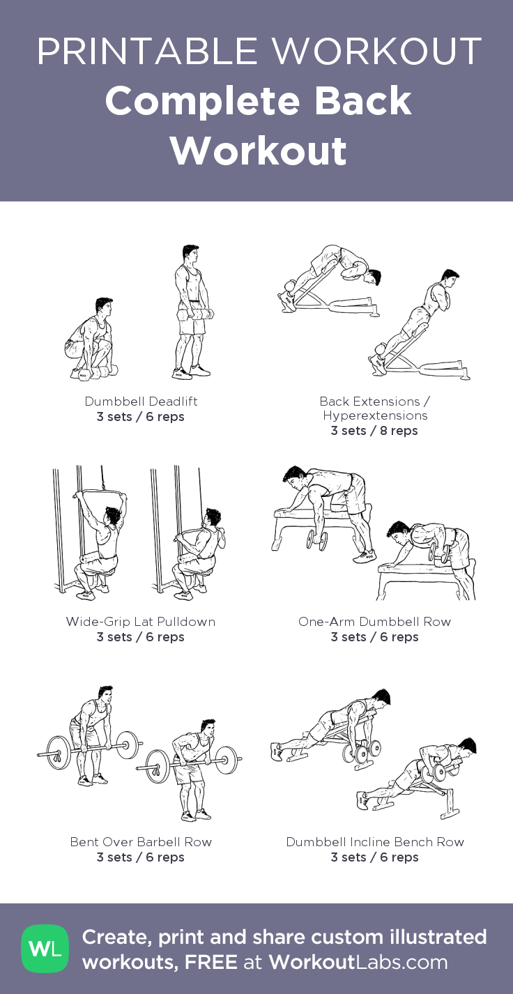Complete Back Workout for Men from WorkoutLabs.com • Click through to customize and download as a FREE PDF