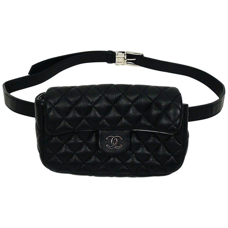 93ba5dc9 Chanel Uniform Black Quilted Leather Waist-Belt Bag | Products in ...