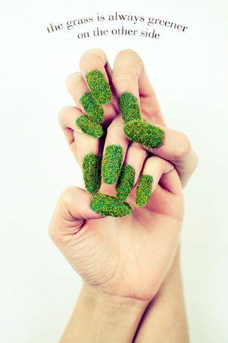 Astro-turf nails. love the creativity.