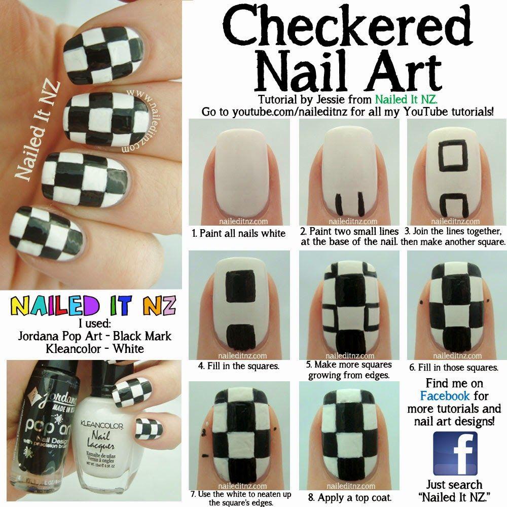 Nailed it nz checkered nail art tutorial bps clothing review