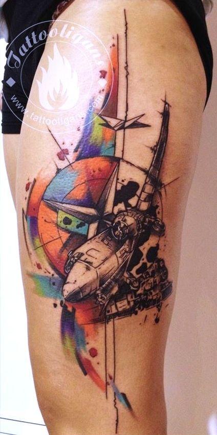 Tattooligans, Thessaloniki, Greece. Plane tattoo | tattoo idea | inspirational tattoo | ink inspiration | tattoo ideas | tattoo placement | tat | machine tattoo | futurist tattoo