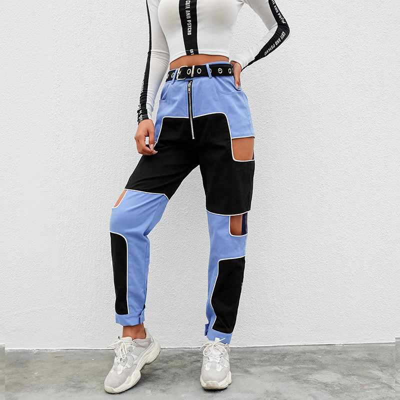 Black Blue Cargo Pants Female Casual Zipper Up Casual Trousers Skinny High Waist Patchwork