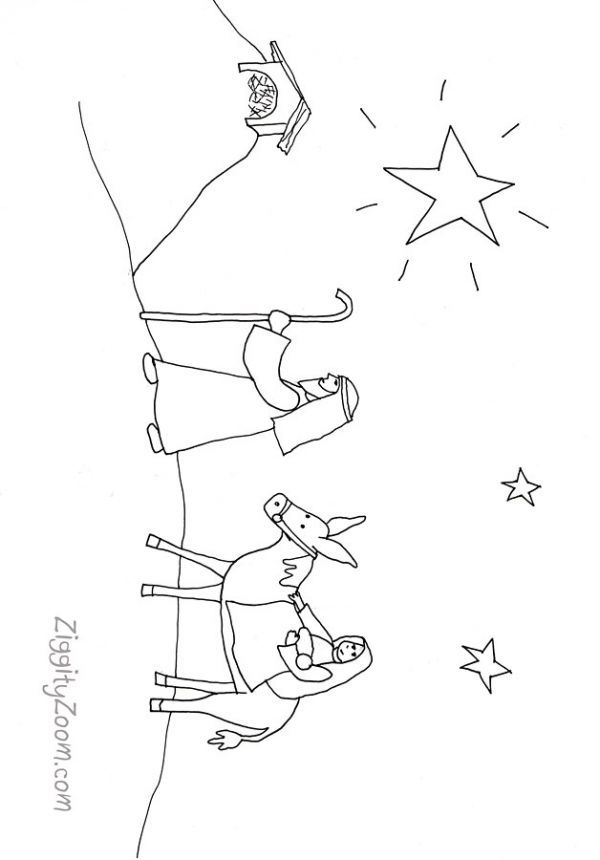 Nativity Coloring Page | Sunday school, Free printable and Sunday ...