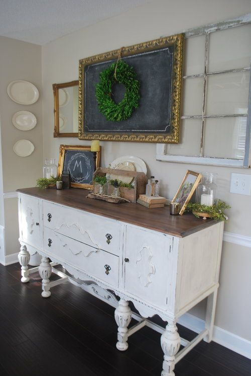 Farmhouse Dining Room With White Buffet By Plum Pretty
