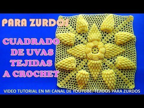Para ZURDOS: Cuadrado de Uvas a crochet paso a paso para Colchas y ...