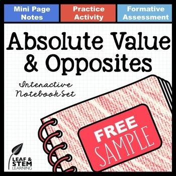 Absolute Value and Opposite Numbers Interactive Notebook Set