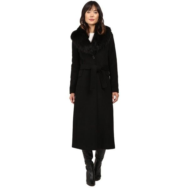 Calvin Klein Maxi Wool Belted with Faux Fur Collar (Black) Women's ...