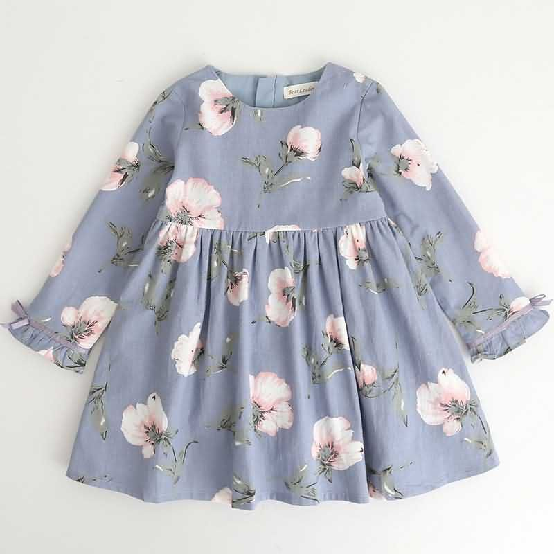 Fashion Toddler Kids Baby Girls Princess Floral Long Sleeve Dress Casual Clothes