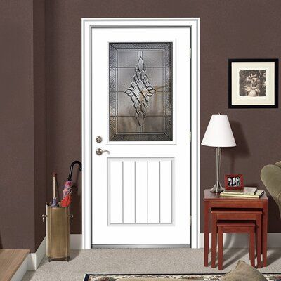 Verona Home Design Fibreglass Smooth 1 2 Lite 1 Panel Planked Single Entry Door Door Size 80 H X 32 W X 1 75 D Door Orientation Left Hand Inswin Aluminum Screen Doors Wood Exterior