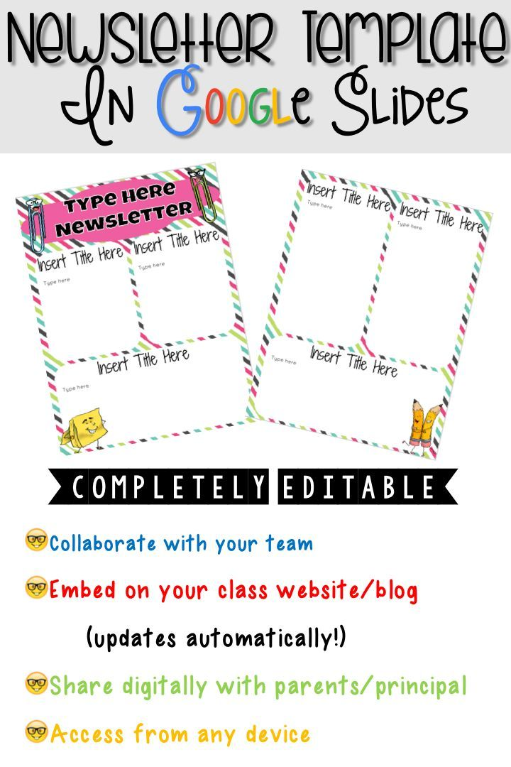 Editable Newsletter Template in Google Slides™ Newsletter - school newsletter templates