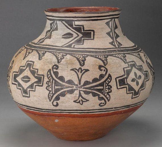 522. Native American Tesuque Poly Chrome Jar Ca. by CulturalPatina